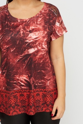 Lace Insert Printed Contrast Top
