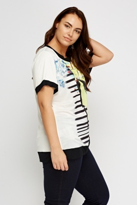 Mixed Print Contrast Top