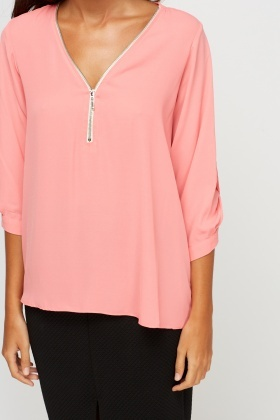 Zip Front Sheer Blouse
