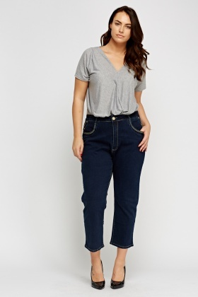 Detailed Waist Cropped Jeans