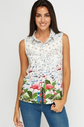 Mixed Print Crochet Sleeveless Top