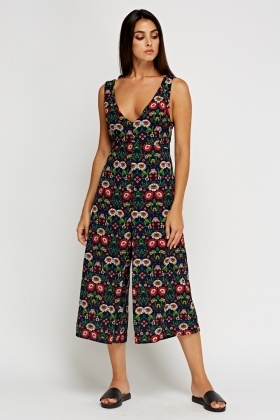 Printed Low Neck Jumpsuit