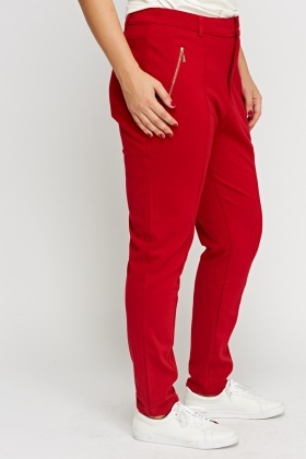 Red Zipped Casual Trousers