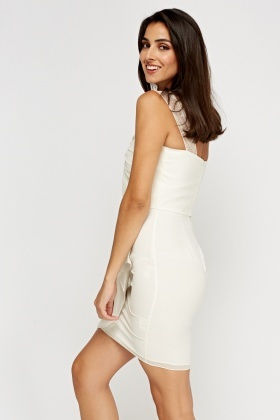 Ruched Sequin Sleeve Ivory Dress