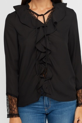 Ruffle Panel Sheer Blouse