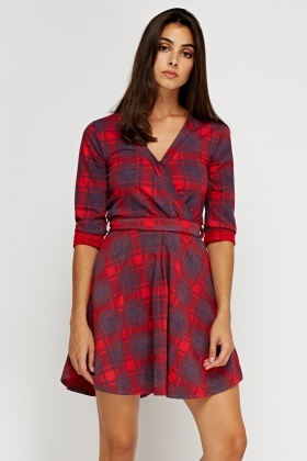 Tartan Wrap Tie Up Dress