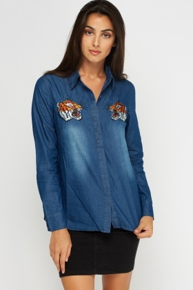 Tiger Applique Denim Shirt