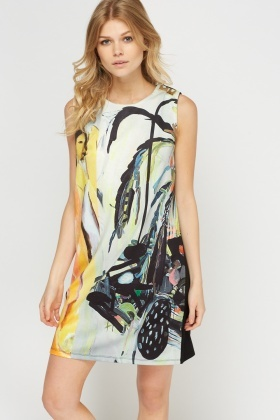 Abstract Print Shift Dress