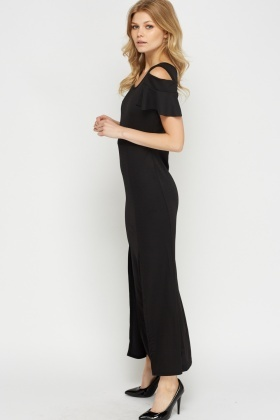 Cold Shoulder Front Slit Maxi Dress