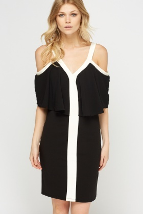Contrast Trim Cut Out Shoulder Dress