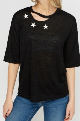 Cut Out Stitched T-Shirt