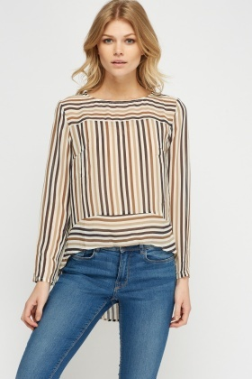 Dip Hem Striped Sheer Blouse