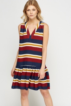 Flare Hem Striped Dress