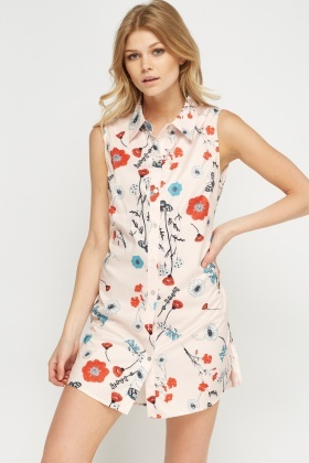 Floral Printed Sleeveless Shirt Dress
