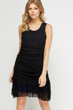 Lace Overlay Ruched Dress