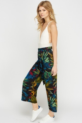 Mixed Print Wide Leg Trousers