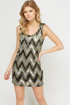 Sequin Zig Zag Mini Dress