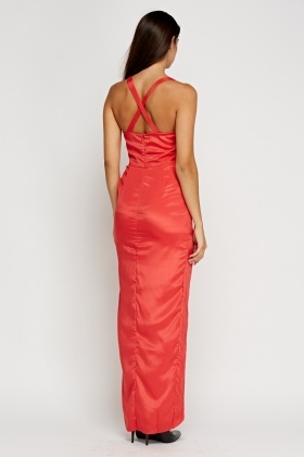 Silky Red Front Slit Maxi Dress