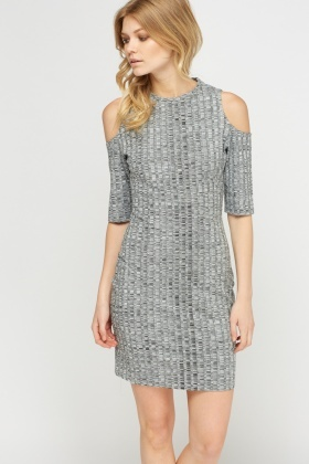 Speckled Cold Shoulder Dress
