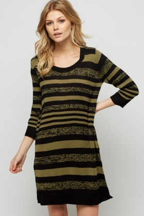 Striped Knit Jumper Dress