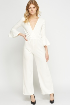 Wide Leg Textured Wrap Jumpsuit