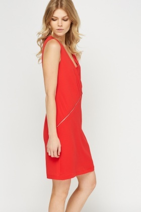 Zip Imitation Shift Dress