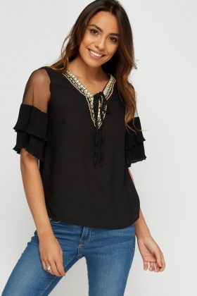Beaded Neck Flare Sleeve Top