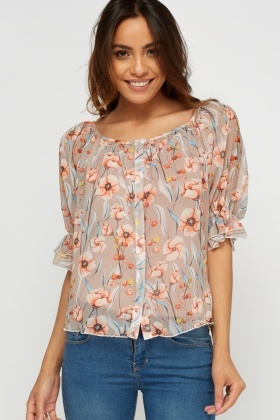 Button Up Sheer Top