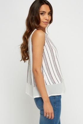Contrast Insert Sleeveless Top