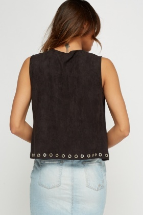 Detailed Trim Suedette Gilet