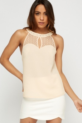 Embellished Pearl Neck Mesh Insert Top