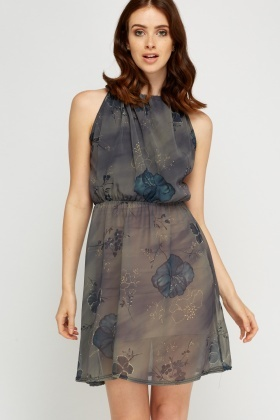 Floral Printed Dark Olive Dress