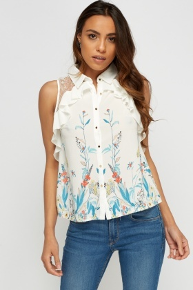 Lace Insert Contrast Printed Sleeveless Blouse