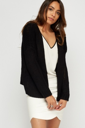 Open Front Knitted Cardigan