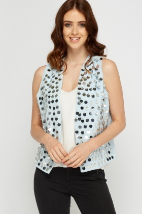 Sequin Embellished Textured Gilet