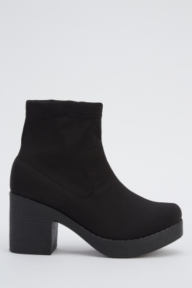 Black Heel Sock Boots