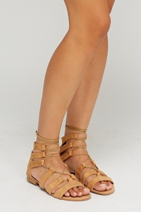 Camel Tie Up Sandals