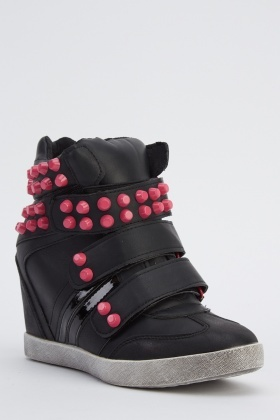 Contrast Studded Wedged Black Trainers