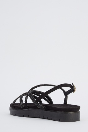 Crossed Encrusted Strappy Flatform Sandals