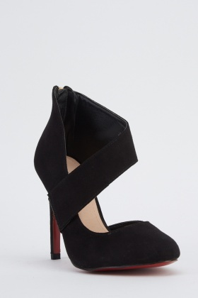 Cut Out Suedette Black Heels