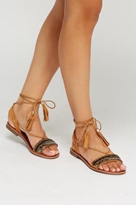 Embellished Tie Up Flat Sandals - Just $6