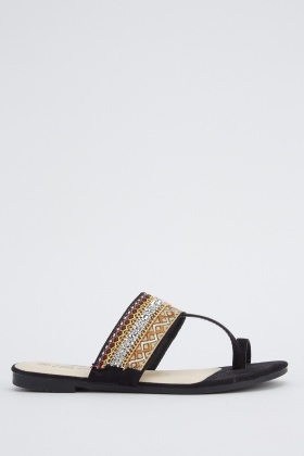 Embroidered Suedette Sandals