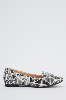 Geo Printed Ballet Pumps