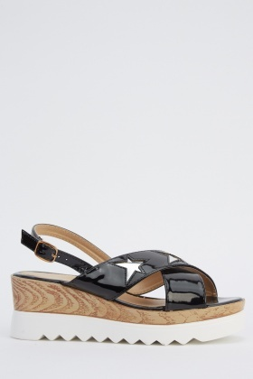 Metallic Insert Star Flatform Sandals
