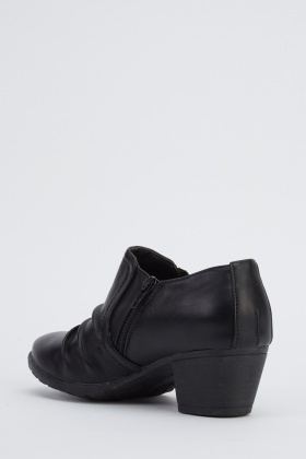 Ruched Faux Leather Mid Heel Shoes