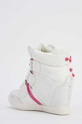 Studded Contrast Wedge High Top Trainers