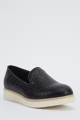 Textured Faux Leather Plimsolls