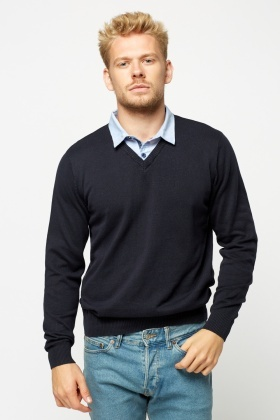 Cotton Shirt Insert Sweater