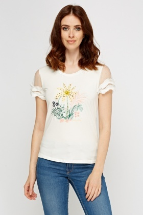 Embroidered Mesh Sleeve Top