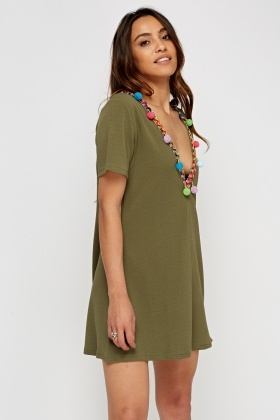Embroidered Pom Pom Plunge Dress